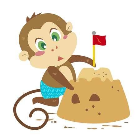 a cute monkey is building sand castles Vector
