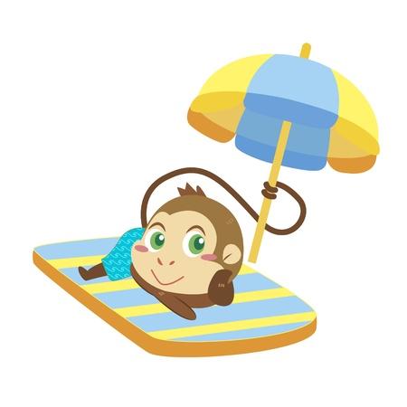 beach game: a cute monkey soak up a sunbathe Illustration