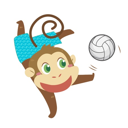 a cute monkey is playing beach volleyball  Vector