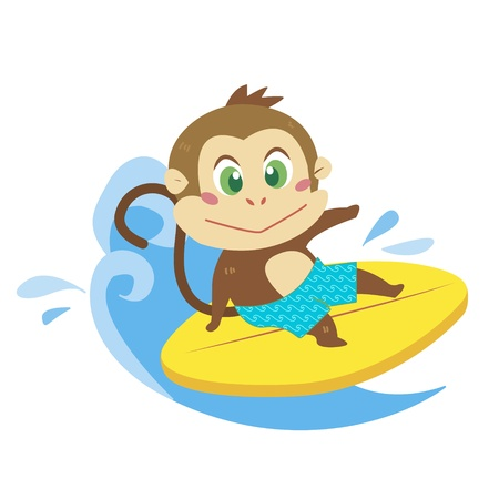 a cute monkey rides on a surfboard  Vector