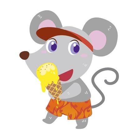 eats: a cute mouse eats an ice cream