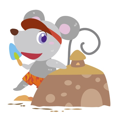 a cute mouse is building sand castles Stock Vector - 17134555