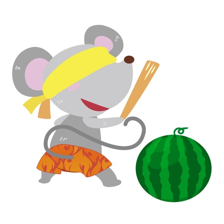 a cute mouse is playing a beach game Stock Vector - 17134553