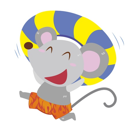 a cute mouse and his life preserver Stock Vector - 17134559