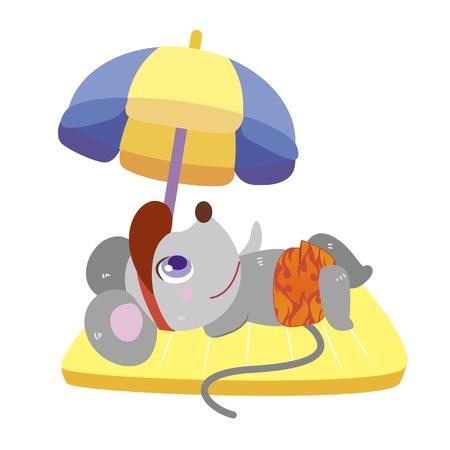 een leuke muis speelt een strand spel Vector Illustratie