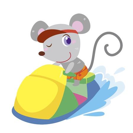 moto acuatica: un ratón lindo conduce una moto de agua