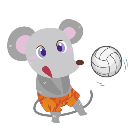 a cute mouse is playing beach volleyball  Vector