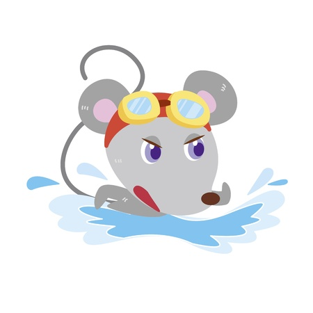 a cute mouse is swimming Stock Vector - 17134539