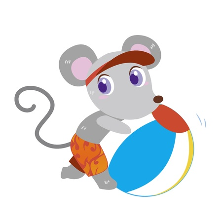 a cute mouse plays a beach ball Stock Vector - 17134546