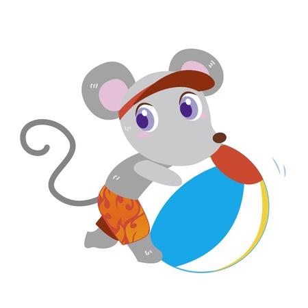 a cute mouse plays a beach ball Stock Vector - 17134546