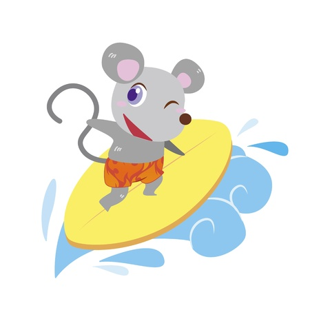a cute mouse rides on a surfboard Stock Vector - 17134549