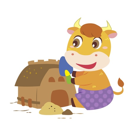 a cute ox is building sand castles Stock Vector - 17134582