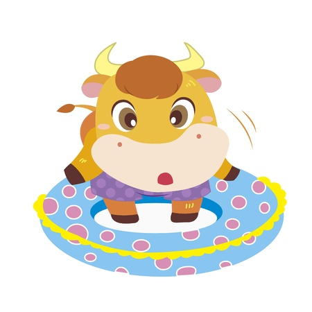 a cute ox and his life preserver Stock Vector - 17134583