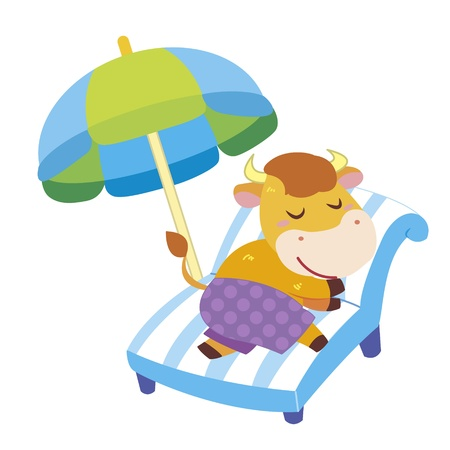 a cute ox soak up a sunbathe Stock Vector - 17134577