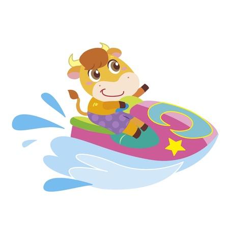 a cute ox drives a Jet Ski Stock Vector - 17134571