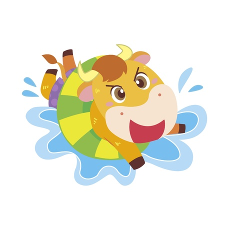 a cute ox swims in a life preserver  Vector