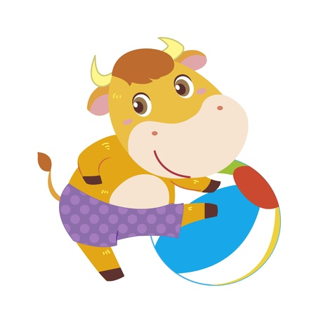 a cute ox plays a beach ball Stock Vector - 17134569