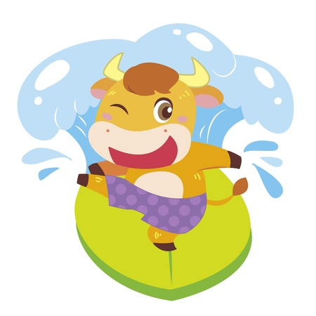 ox: a cute ox rides on a surfboard  Illustration