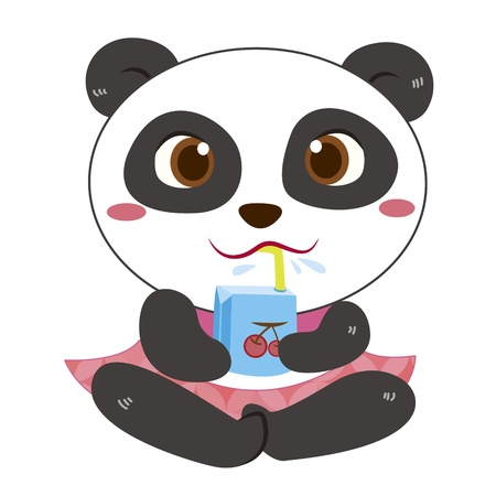 a cute panda has a drink  Vector