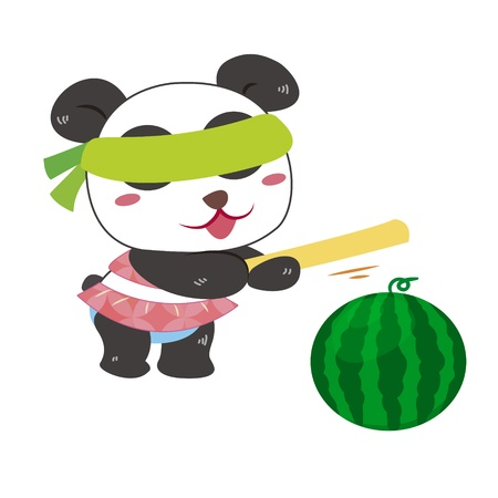a cute panda is playing a beach game Illustration