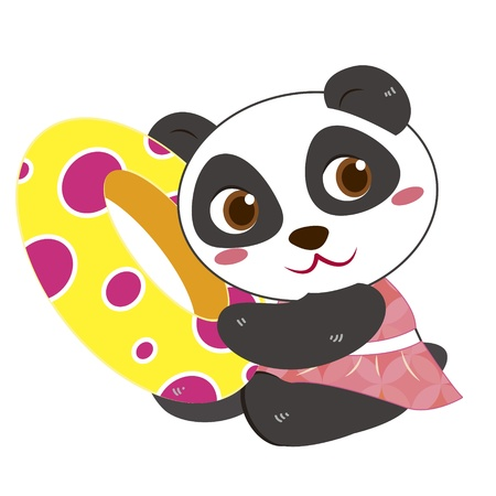 a cute panda and his life preserver Stock Vector - 17134552