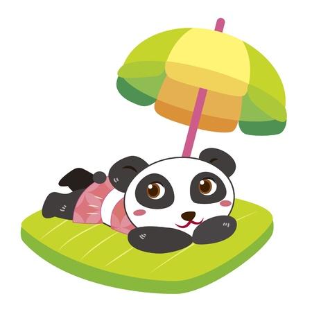 soak: a cute panda soak up a sunbathe Illustration