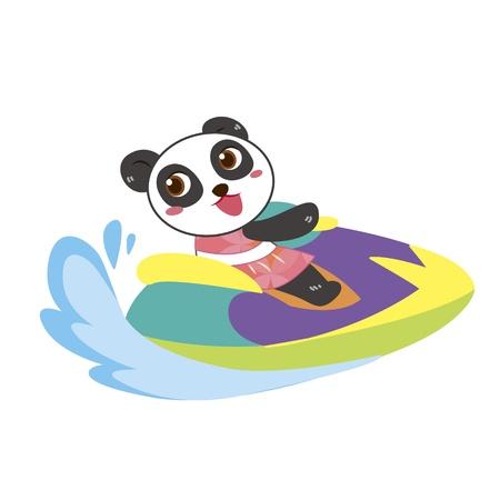 moto acuatica: un panda lindo conduce una moto de agua