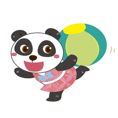 a cute panda plays a beach ball Vector