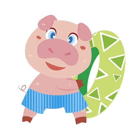 a cute pig and his life preserver Vector