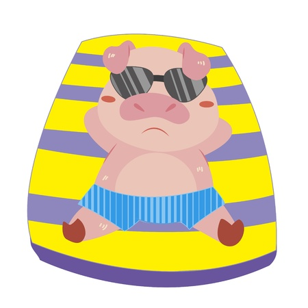 a cute pig soak up a sunbathe Vector