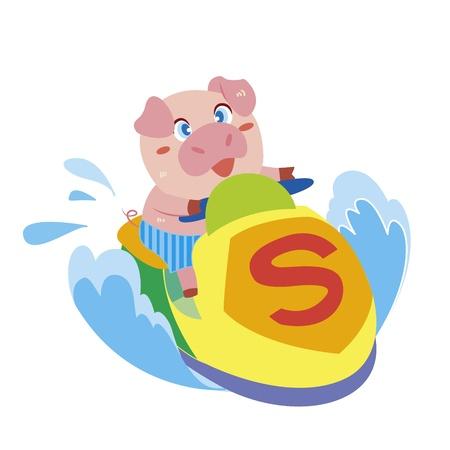 moto acuatica: un cerdo lindo conduce una moto de agua Vectores
