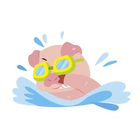 a cute pig is swimming Stock Vector - 17134608