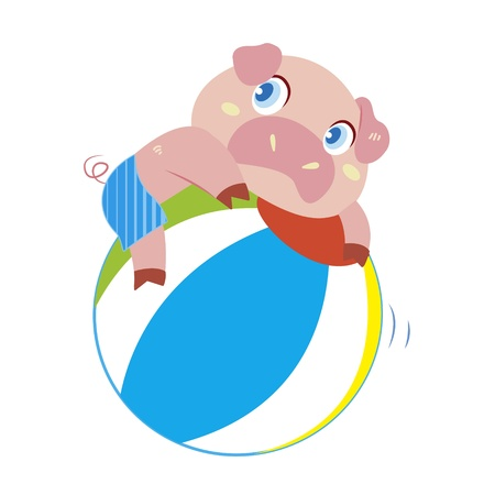 a cute pig plays a beach ball Vector