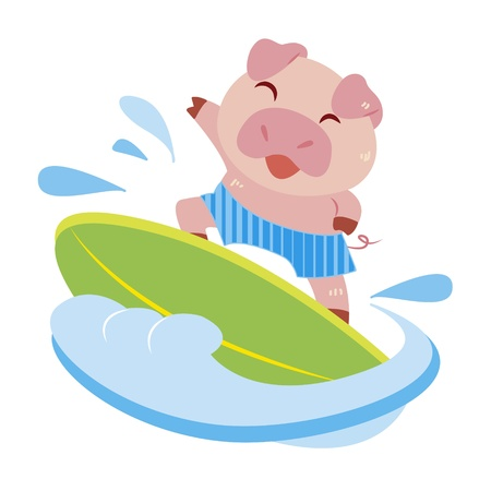 a cute pig rides on a surfboard  Vector