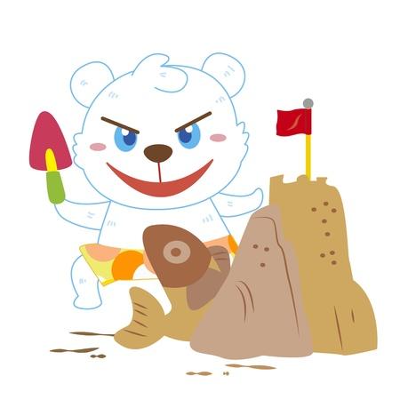 a cute polar bear is building sand castles Vector
