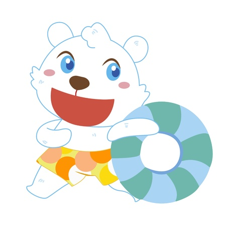 a cute polar bear and his life preserver Vector