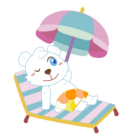 a cute polar bear soak up a sunbathe Vector
