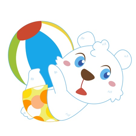 a cute polar bear plays a beach ball Vector