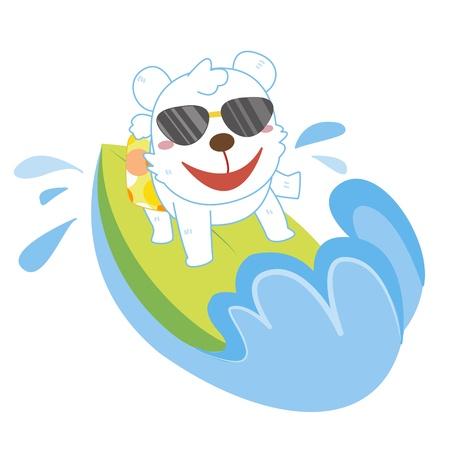 a cute polar bear rides on a surfboard  Vector