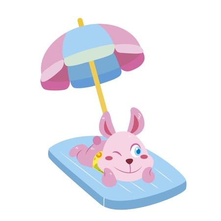 a cute rabbit soak up a sunbathe Stock Vector - 17134617
