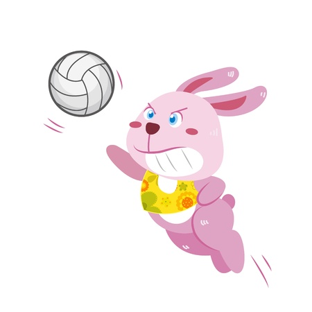 a cute rabbit is playing beach volleyball  Vector