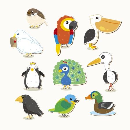 aves caricatura: juego lindo pájaro colorido Vectores
