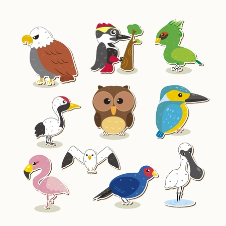 woodpecker: cute colorful bird set Illustration