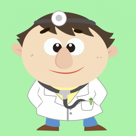 a cute cartoon doctor Vector