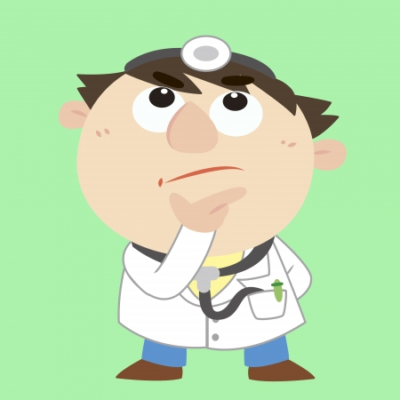 a cartoon doctor is thinking Vector