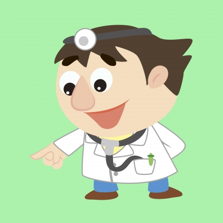 a cartoon doctor refers to the lower left Stock Vector - 17203199