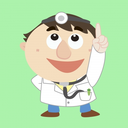 cartoon doctor refers to the top Vector