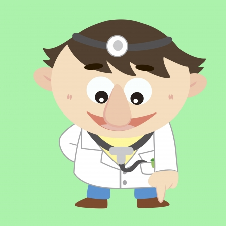 refers: cartoon doctor refers to the bottom Illustration