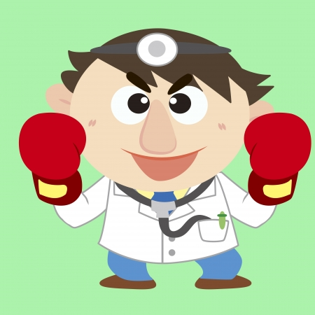 a cute doctor raise his boxing gloves Vector