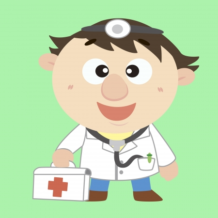 a cartoon doctor with a first aid kit Vector